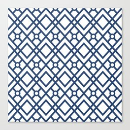 Modern Geometric Diamonds and Circles Pattern Navy Blue and White Canvas Print
