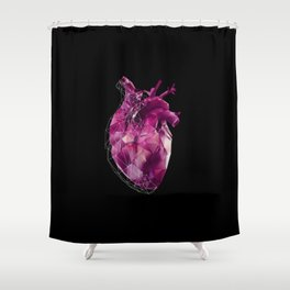pink polygon heart Shower Curtain