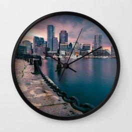 Boston, Massachusetts at Sunset 3 Wall Clock