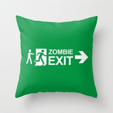 Zombie Exit Throw Pillow