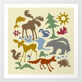 Woodland Animal Friends Art Print