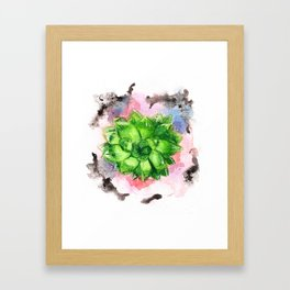 Bright green succulent Framed Art Print