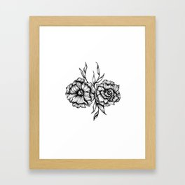 Two Inked Flowers Framed Art Print