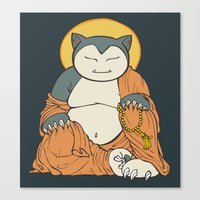 snorlax Canvas Prints featuring Hotei Snorlax by Mallory Hodgkin