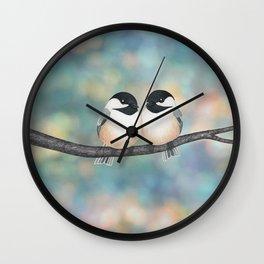 black capped chickadees and bokeh Wall Clock