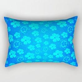 Blue Hawaiian Honu And Tropical Flowers Rectangular Pillow