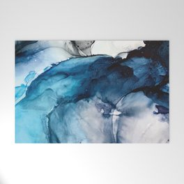 White Sand Blue Sea - Alcohol Ink Painting Welcome Mat