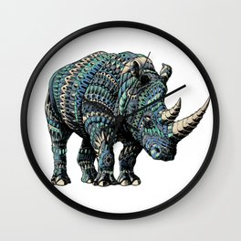 Rhinoceros (Color Version) Wall Clock
