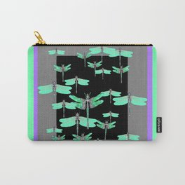 FLIGHT OF GREEN DRAGONFLIES VIOLET-GREY ART Carry-All Pouch