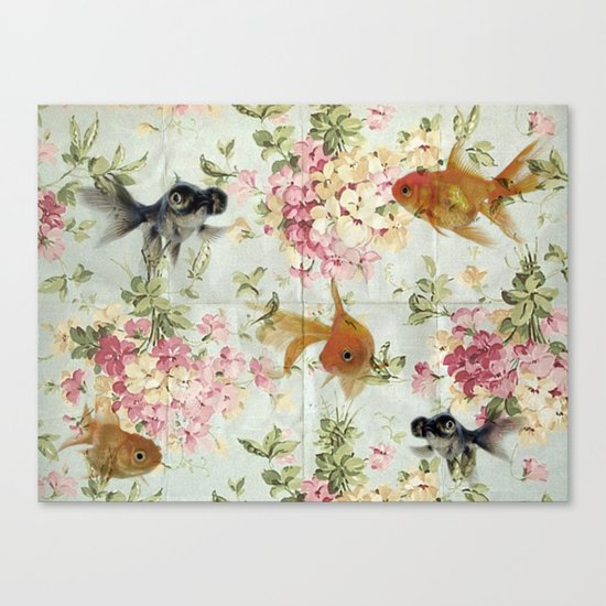 Gold fish wall paper Canvas Print