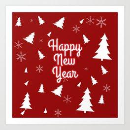 New Year, Christmas, winter holidays illustration New Year, Christmas, winter holidays illustration Art Print