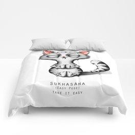 yoga cat sukhasana Comforters