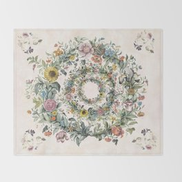Circle of life- floral Throw Blanket