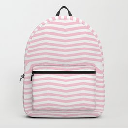 Light Soft Pastel Pink and White Chevron Backpack