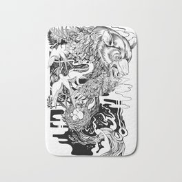 Bear- black and white - illustration Bath Mat