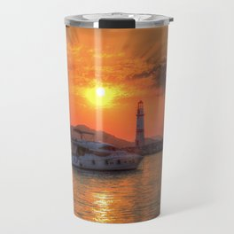 Lighthouse And Yacht Sunset Travel Mug