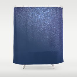 Diagonal Sparkly Navy Blue Glitter Gradient Ombre Shower Curtain