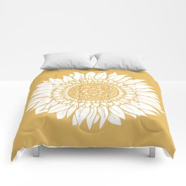 Yellow Sunflower Drawing Comforters