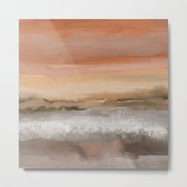 Ocean in Sunset Orange Metal Print