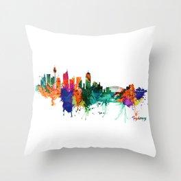 Sydney watercolor skyline Throw Pillow