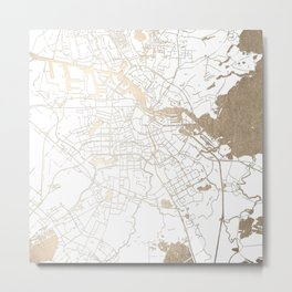 Amsterdam White on Gold Street Map II Metal Print