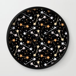 Night sky with gold silver stars Wall Clock