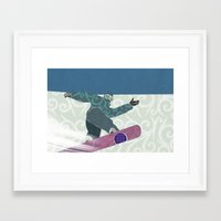 snowboarding Framed Art Prints featuring Snowboarding by Aquamarine Studio
