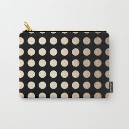 White Gold Sands Polka Dots on Midnight Black Carry-All Pouch