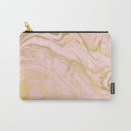 Trendy modern gold marble pastel Millennial pink Carry-All Pouch