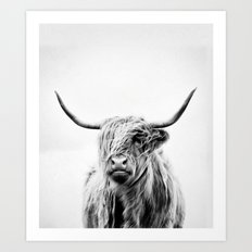 portrait of a highland cow - vertical orientation Art Print