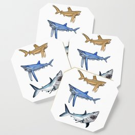 Mako Blue White Tip Sharks Coaster