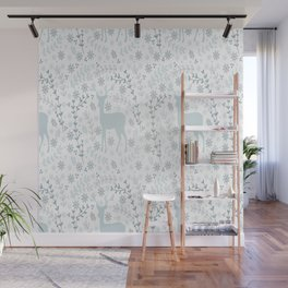 Winter floral deer Wall Mural