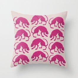 Wild Cats - Pink Throw Pillow