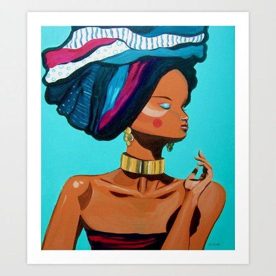 Gold & blue Art Print
