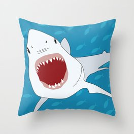 Shark Attack Underwater With Fish Swimming In The Background Throw Pillow
