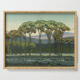 Japanese Block Print Summer Landscape Serving Tray