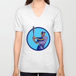 Baseball Batter Batting Bat Circle Woodcut Unisex V-Neck