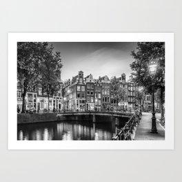 AMSTERDAM Idyllic impression from Singel | Monochrome Art Print