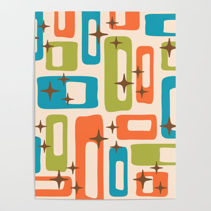 Retro Mid Century Modern Abstract Pattern 921 Orange Chartreuse Turquoise Poster