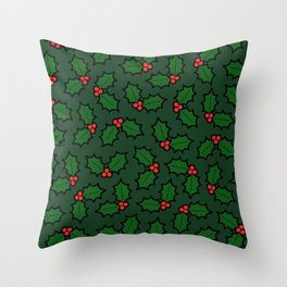Holly Leaves and Berries Pattern in Dark Green Throw Pillow