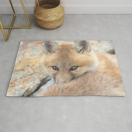 Watercolor Fox, Red Fox 47, Union Reservoir, Boulder County Rug