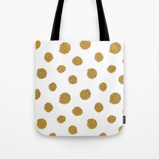 Golden touch III- Gold glitter effect polkadot pattern Tote Bag