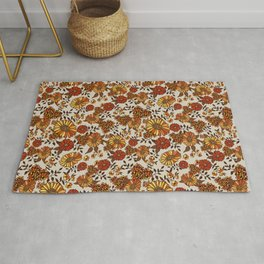 Retro 70s boho hippie orange flower power Rug