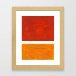 Burnt Orange Yellow Ochre Mid Century Modern Abstract Minimalist Rothko Color Field Squares Framed Art Print