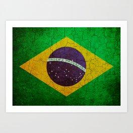 Cracked Brazil flag Art Print