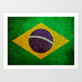 Cracked Brazil flag Art Print