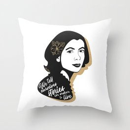 We Tell Stories - Joan Didion - Black & Gold Throw Pillow