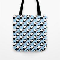 puffin Tote Bags featuring Puffin by stephpiddillustration