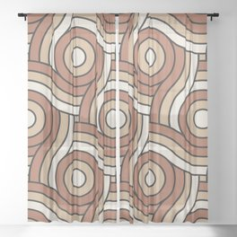 Circle Swirl Pattern Inspired By Cavern Clay Sw 7701 and Accent Colors Sheer Curtain