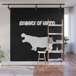 Beware of Hippo-Black Background Wall Mural